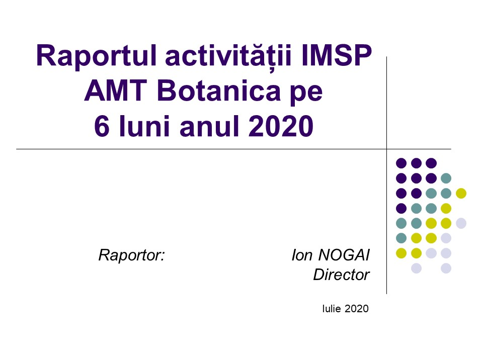 Raportul activitații pe 6 luni anul 2020