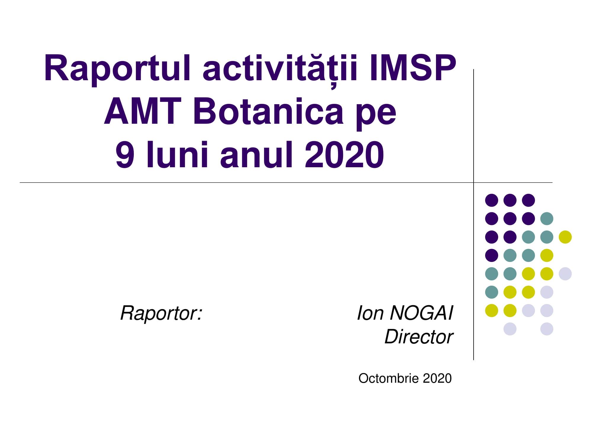 Raportul activității pentru 9 luni, anul 2020