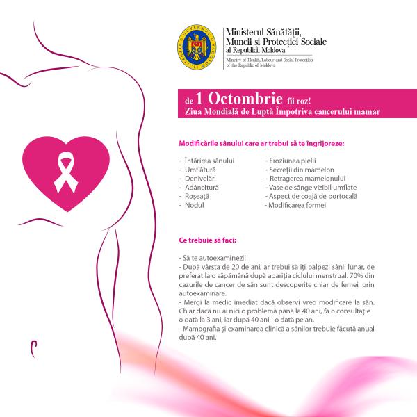 Luna octombrie este dedicată conștientizării și prevenirii cancerului de sân